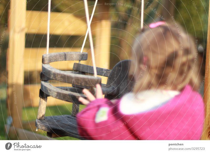 Push me Human being Feminine Child 1 1 - 3 years Toddler To swing Swing Wood push push-start Jostle Hand wollwalk Hair barrette Playing Garden Happy Joy Infancy