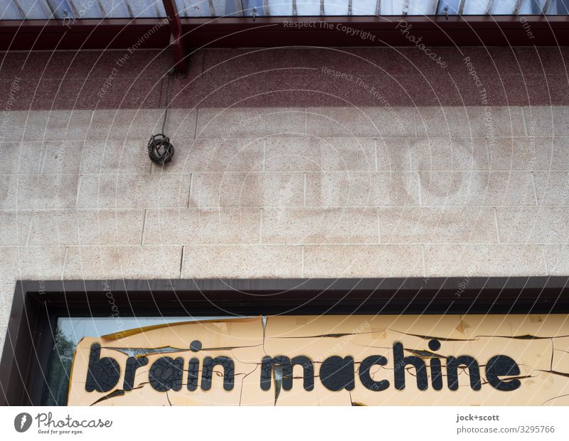 Brain Machine Trade Electronics lost places Berlin Store premises Shop window Lettering Billboard Word Typography English Think Uniqueness Above Retro Gloomy
