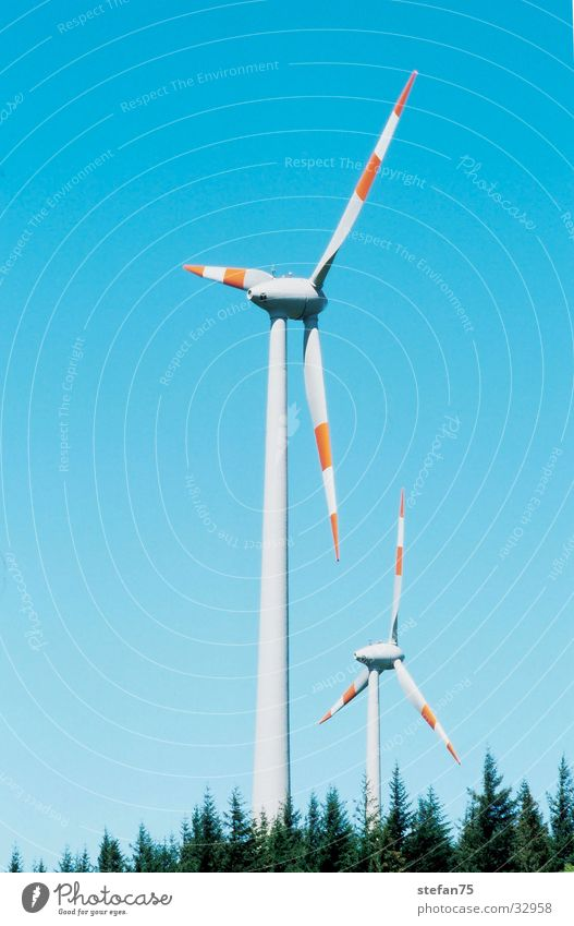 double trouble Electrical equipment Technology Renewable energy Energy industry Wind Wind energy plant wind energy two windmills Nature