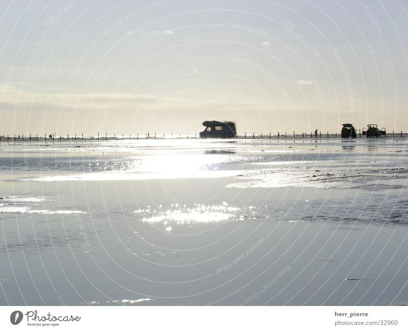 tide at six Beach Mobile home Sunset Camping Waves Water High tide camper van Evening
