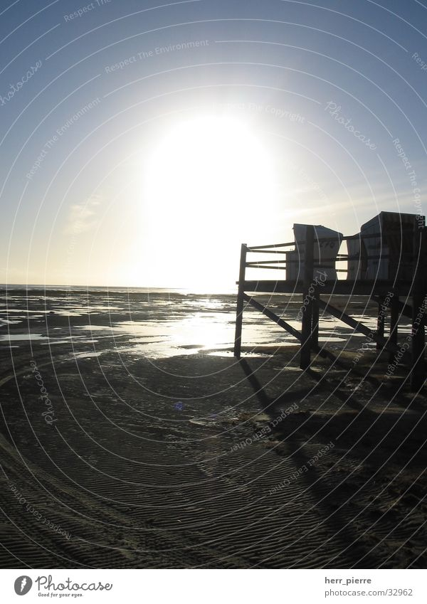 Water Sun Ocean Beach Vacation & Travel Holy Beach chair Eyderstedt Mud flats High tide Low tide St. Peter-Ording