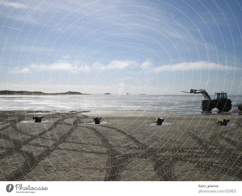 early season Beach Ocean St. Peter-Ording Low tide Tractor North Sea Sand Water Sky Bridge