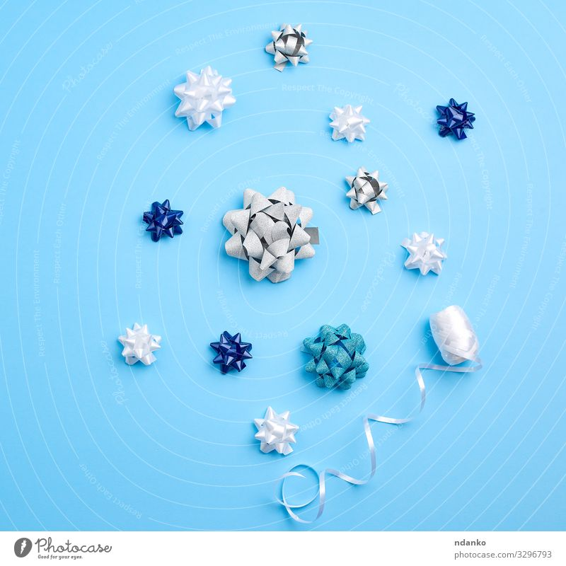related white, blue and gray bows Shopping Luxury Design Beautiful Decoration Feasts & Celebrations Christmas & Advent Wedding Birthday Packaging Package String