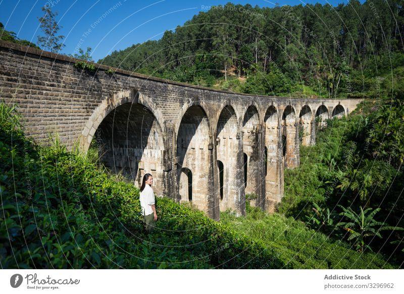 Young woman enjoying landscape of ancient bridge green forest old asian nine arches bridge shabby ella sri lanka touristic travel transportation architecture