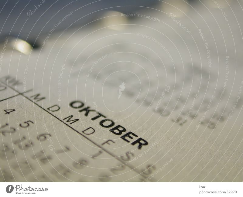 October Calendar Week Month Loose-leaf Paper Time Year Macro (Extreme close-up) Graffiti Pressure
