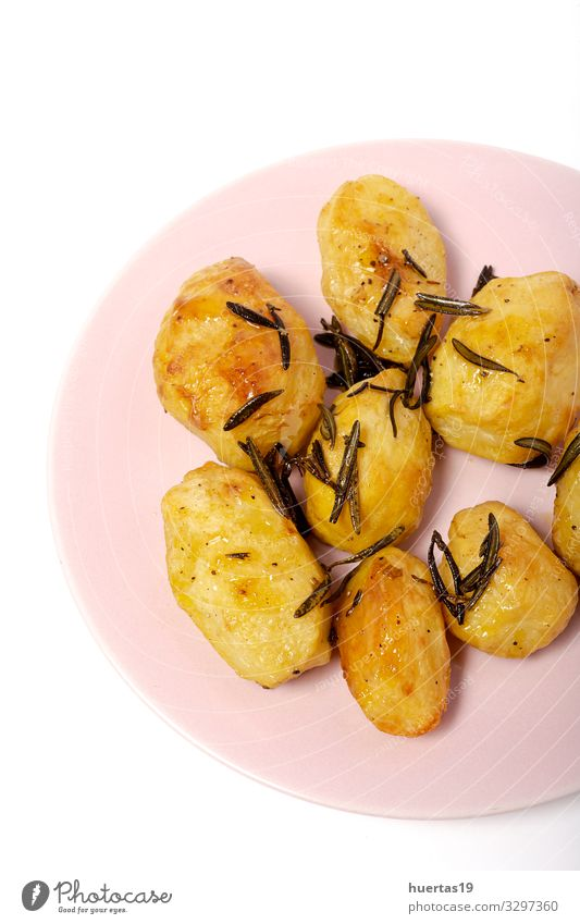 Homemade roasted potatoes with rosemary Food Vegetable Herbs and spices Lunch Vegetarian diet Diet Plate Healthy Eating Yellow Gold White Potatoes Cooking