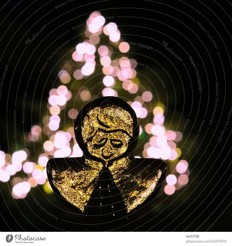 Angel made of glass I Harmonious Relaxation Living or residing Garden Decoration Christmas & Advent Glass Multicoloured Black White Fir tree Light
