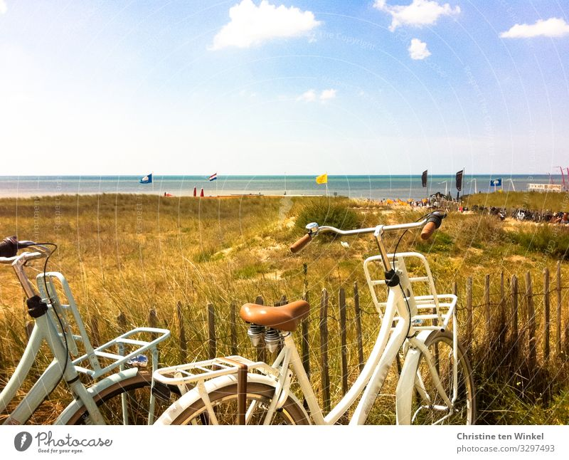 View of the Dutch North Sea, in the foreground two bicycles and dunes with dried up grass Summer Marram grass Noordwijk Beach Netherlands Cycling tour