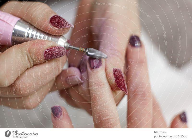 Finger nail care. Manicure Medical treatment Tool Woman Adults Hand Fingers File Colour Beauty Photography beautician Professional salon manicurist process