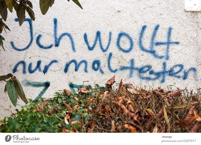 Graffiti Autumn Wall (building) Wall (barrier) Characters Dirty Communicate Bushes Trashy Attempt Wisdom Vandalism