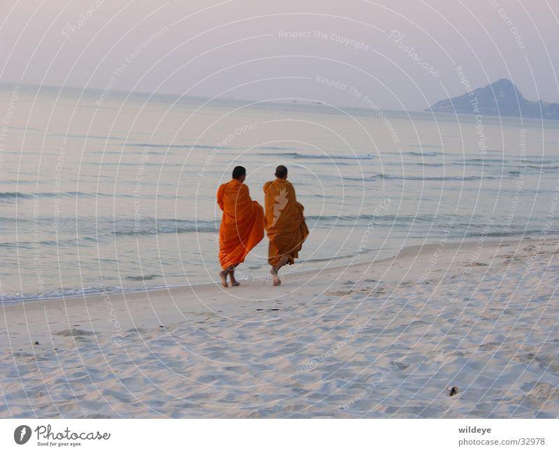 monks Monk Beach Thailand Calm Morning Sand