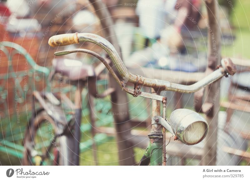 trash bike Vintage car Bicycle Old Poverty Rust Parking Retro Handlebars Subdued colour Exterior shot Copy Space top Copy Space bottom Day