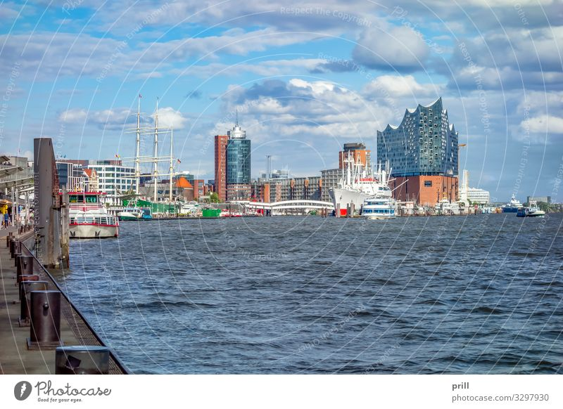 around Port of Hamburg Tourism Water Coast Brook River Town Port City Harbour Manmade structures Building Architecture Transport Watercraft Authentic seaport