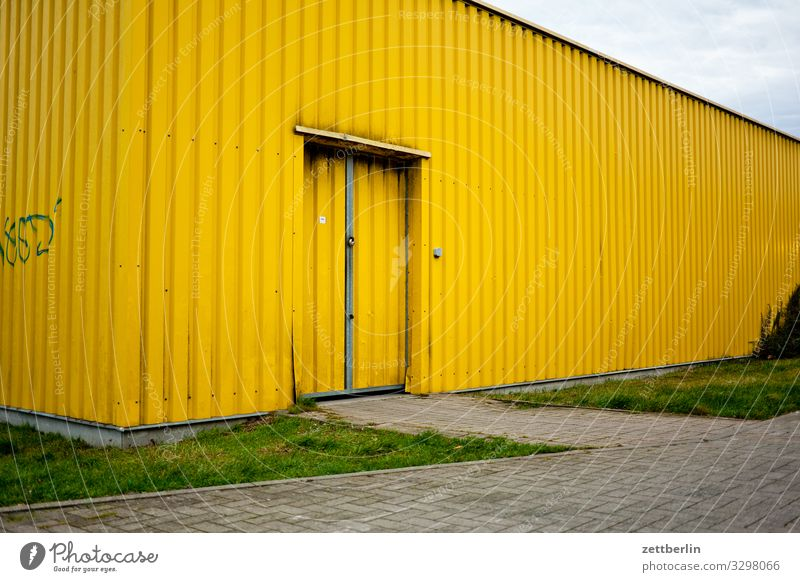 Yellow Hall Warehouse Storage Corrugated sheet iron Corrugated iron roof Corrugated-iron hut Corrugated iron wall Door Gate Entrance Way out Logistics Scales