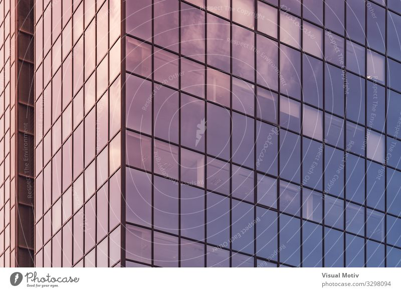 Afternoon lights reflected on the glass facade of an office building Town Manmade structures Building Architecture Window Glass Metal Steel Crystal Authentic