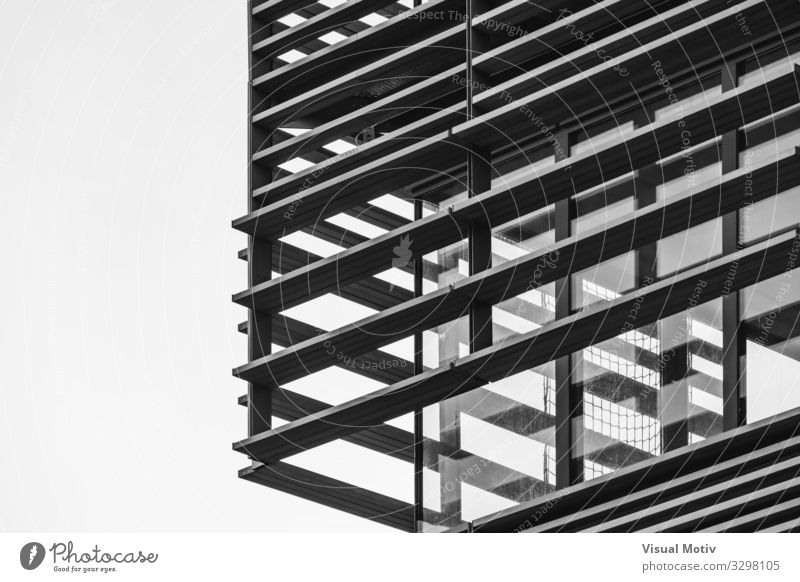 Architectural decorative structure on a corner of a residential building - Black and White Capital city Manmade structures Building Architecture Facade Concrete