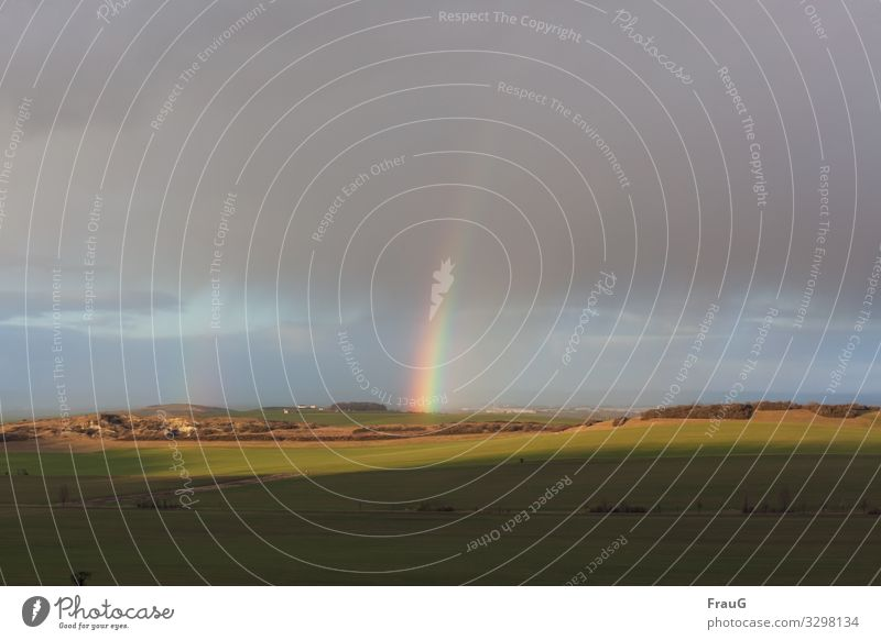At the end of the rainbow | 200 Nature Landscape Sky Sunlight Winter Weather Field Hill Rainbow Deserted Illuminate Light Shadow Prismatic colour Colour photo