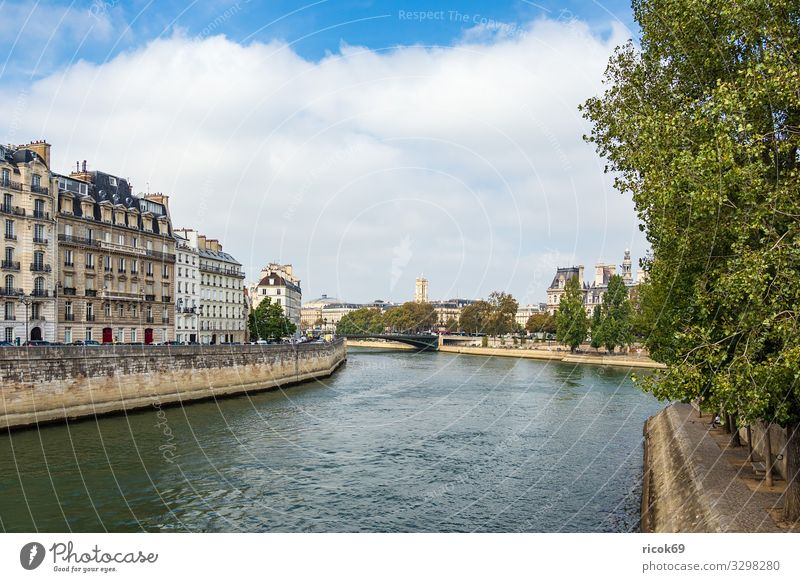 View over the Seine in Paris, France Relaxation Vacation & Travel Tourism City trip House (Residential Structure) Water Clouds Autumn Tree River Town