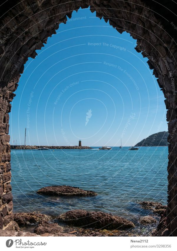 Vacation & Travel Blue Ocean Relaxation Calm Travel photography Window Architecture Building Horizon Door Tourist Attraction Manmade structures Harbour