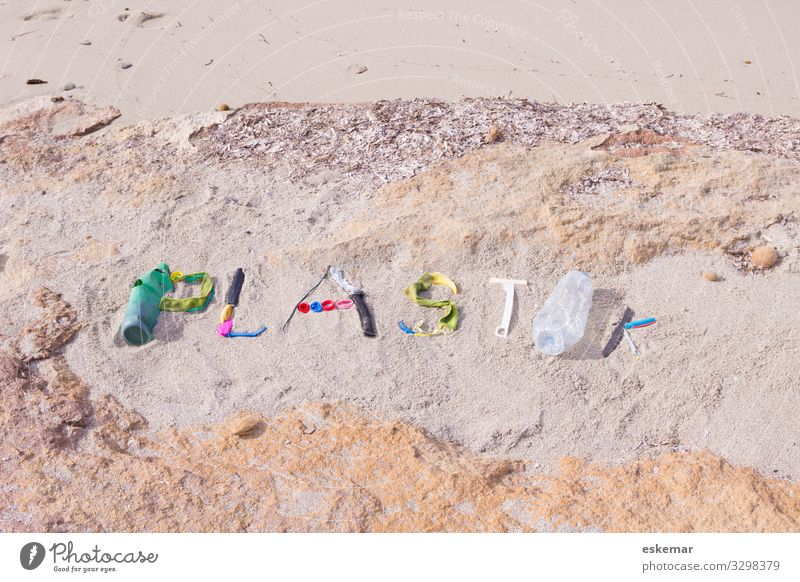 plastic waste Ocean ocean Trash Water Beach filth Environment soiling Word writing lettering nobody Plastic Environmental pollution Recycling Problem Nature