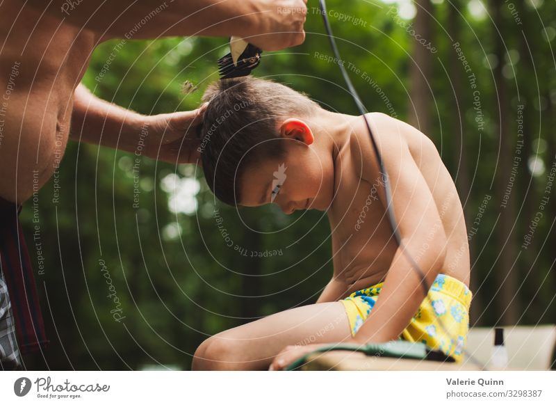 Backyard Haircut Child Boy (child) Hair and hairstyles 1 Human being Short-haired Razor blade Bald or shaved head Infancy Exterior shot Colour photo Morning