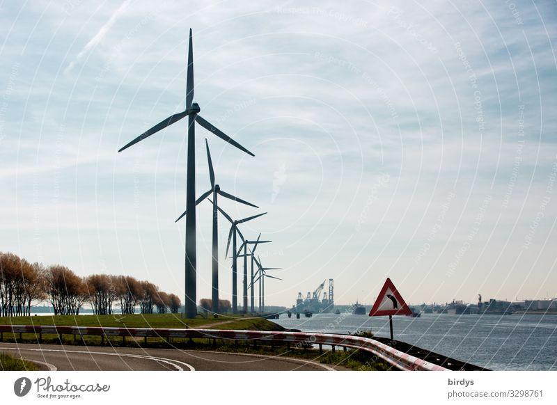 Main thing | regenerative Renewable energy Wind energy plant Sky Clouds Climate change Plant River bank Street Road sign Rotate Authentic Success Sustainability