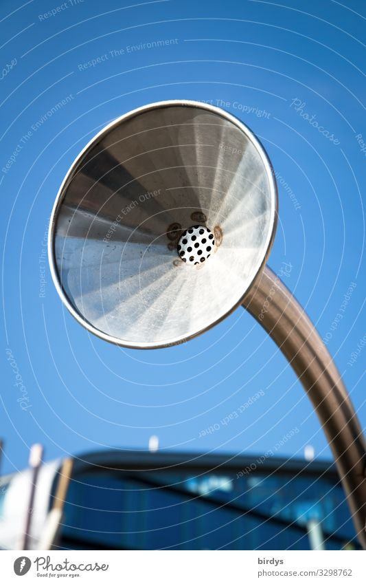 sound Style Listen to music Cloudless sky Beautiful weather Volume Loudspeaker grammophone Funnel Old Simple Blue Gray Senior citizen Design Nostalgia