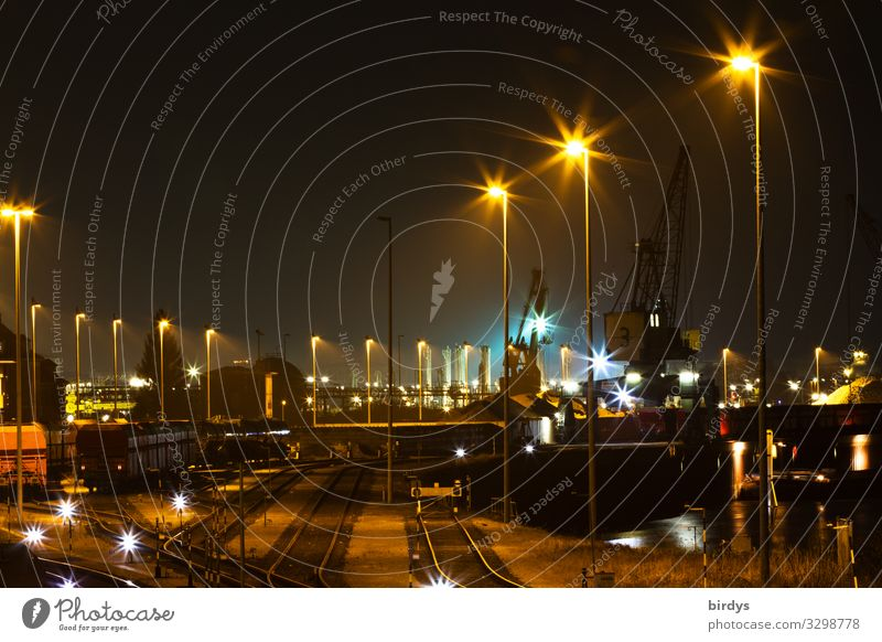 night shift Logistics Floodlight Train station Freight station Transport Rail transport Freight train Railroad tracks Switch Railroad system Work and employment