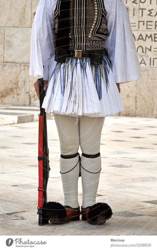 Evzonas Guardian in front of the Greek parliament Vacation & Travel Tourism Man Adults Culture Building Monument Blue White Tradition guard Athens Greece