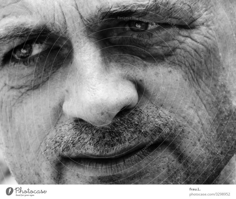 Thoughtful Human being Man Adults Face 1 45 - 60 years Think Looking Dream Sadness Sensitive Attractive Masculine Meditative Black & white photo Exterior shot