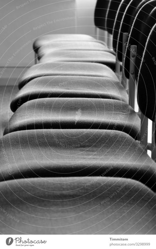 bowel movement Chair Metal Wait Simple Gray Black White Emotions Expectation Hall Seating capacity Carpet Empty Black & white photo Interior shot Deserted Day