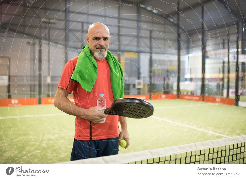Racket boss Drinking Playing Sports Human being Man Adults Bald or shaved head Beard Old senior paddle tennis training padel sportsman Mature 50s 60s Action
