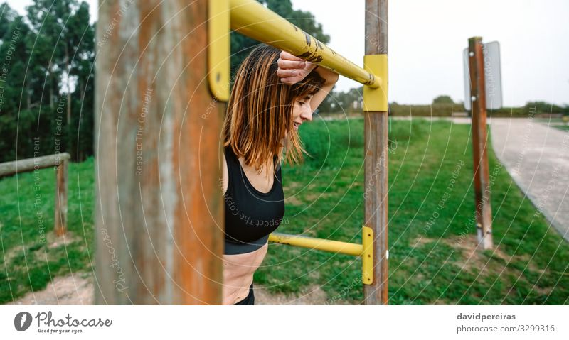Tired athlete woman after training Lifestyle Relaxation Sports Human being Woman Adults Park Breathe Fitness Athletic Thin Fatigue Effort satisfied supported
