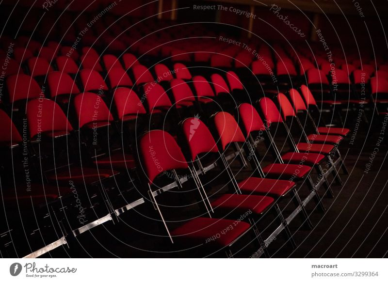 chairs Chair location Event event photography Red Seating Row Row of seats Deserted Empty Shows Presentation First Hall