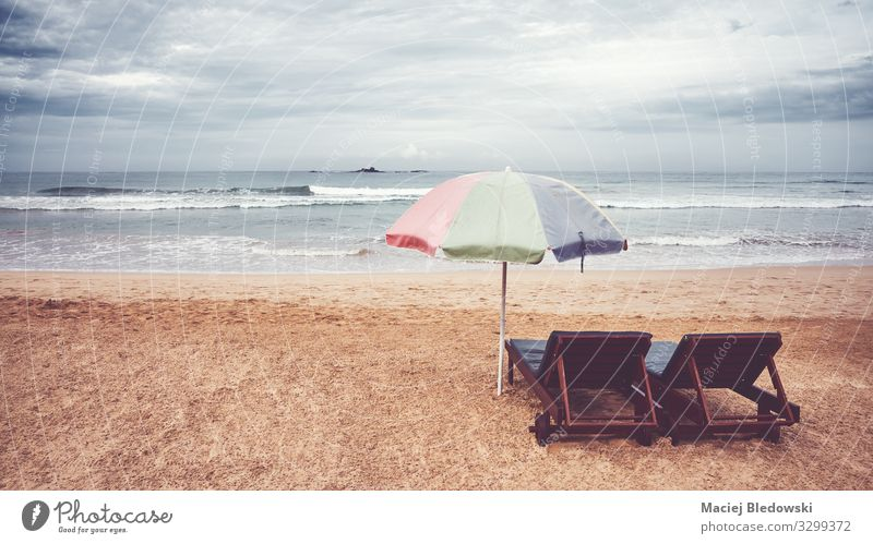 Two sunbeds and umbrella on an empty beach, Sri Lanka. Relaxation Vacation & Travel Freedom Summer Summer vacation Beach Ocean Island Nature Landscape Sand Sky