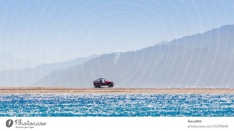 offroad car on an island in the Red Sea in Egypt Vacation & Travel Tourism Trip Adventure Summer Beach Ocean Island Waves Mountain Nature Landscape Sand Sky