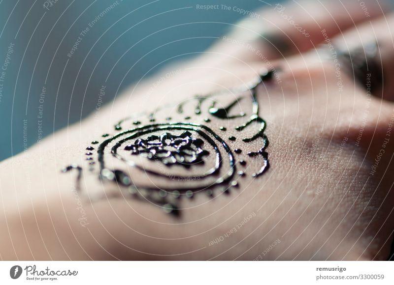 Henna hand tattoo Design Body Harmonious Decoration Feasts & Celebrations Wedding Woman Adults Hand Fingers Art Culture Tattoo Red Black Tradition Arabia budism