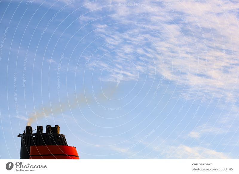 Red chimney in front of blue sky Vacation & Travel Cruise Technology Sky Clouds Navigation Cruise liner Chimney Smoking Threat Maritime Blue Concern Shame