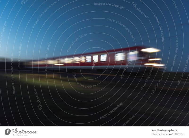 Train moving at night. Blur motion train. Traveling at night Vacation & Travel Transport Passenger traffic Public transit Train travel Railroad Engines