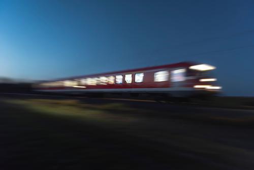 Train moving at night. Blur motion train. Traveling at night Vacation & Travel Transport Passenger traffic Public transit Train travel Railroad Engines