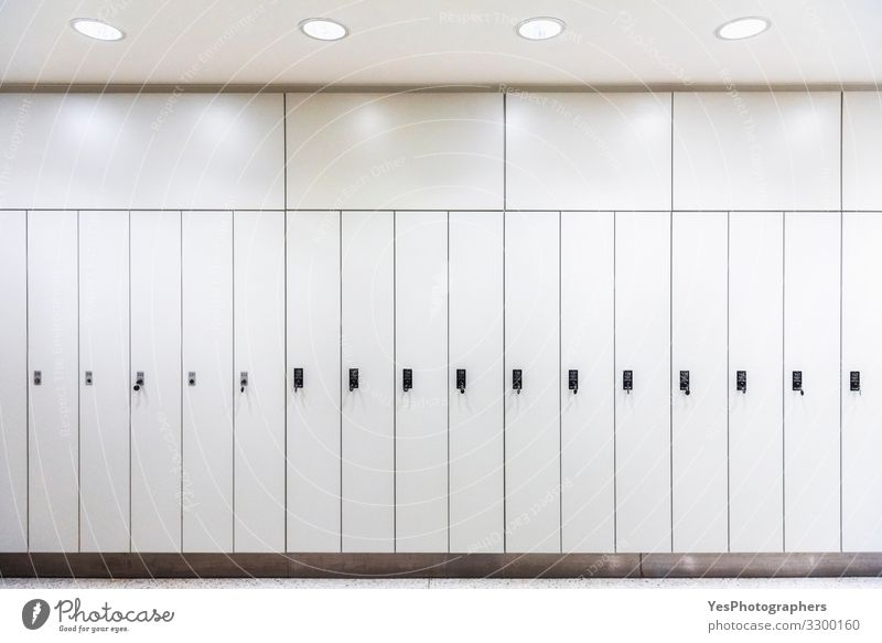 White lockers in a row. Metal wardrobes. Storage lockers. Luxury Furniture Door Modern Safety Safety (feeling of) back to school cabinets Changing room Corridor