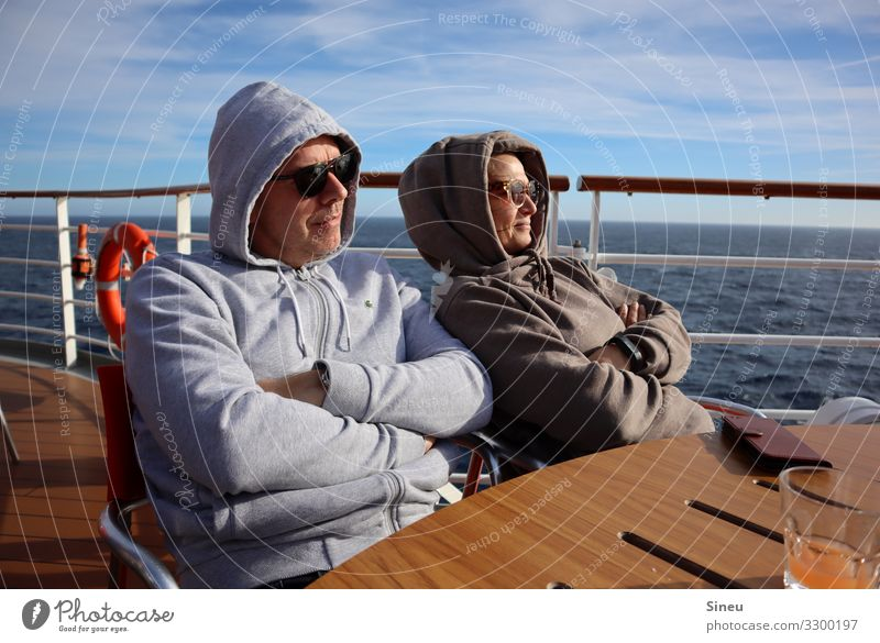 Hoodie Couple Contentment Relaxation Vacation & Travel Tourism Far-off places Cruise Sun Woman Adults Man Partner 2 Human being 45 - 60 years Cruise liner