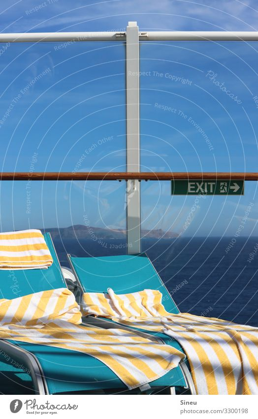skin thing | towel on it Tourism Cruise Summer Ocean Beautiful weather Coast Island Cruise liner Deckchair Towel Signage Warning sign Emergency exit