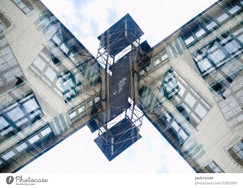 Commercial building double moped Architecture Facade Goods lift Sharp-edged Large Uniqueness Above Crazy Moody Agreed Chaos Creativity Whimsical Surrealism
