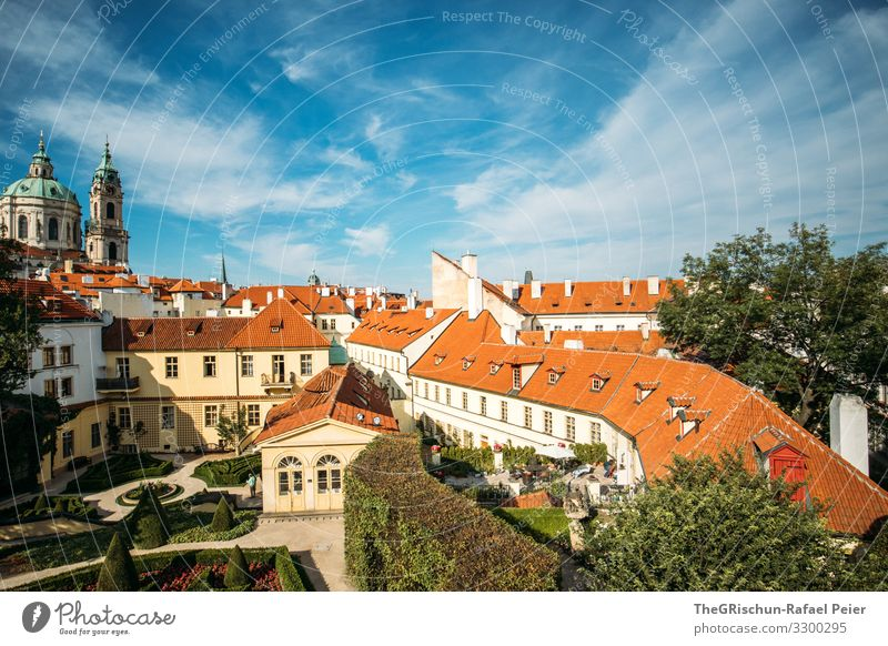 Prague Town Capital city Blue Orange White Sky Clouds Roof Garden Church Czech Republic House (Residential Structure) Manmade structures Tourism City trip