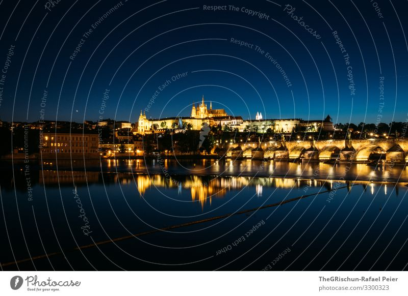 Prague by night Town Capital city Blue Yellow Gold Reflection Church Night Light Long exposure Czech Republic Water Colour photo Exterior shot Deserted