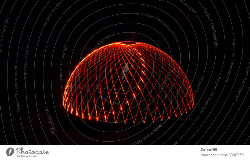 Magic Light Painting Design Christmas & Advent Dome Line Illuminate Background picture Illustration Illumination Red light painting Black structure Colour photo