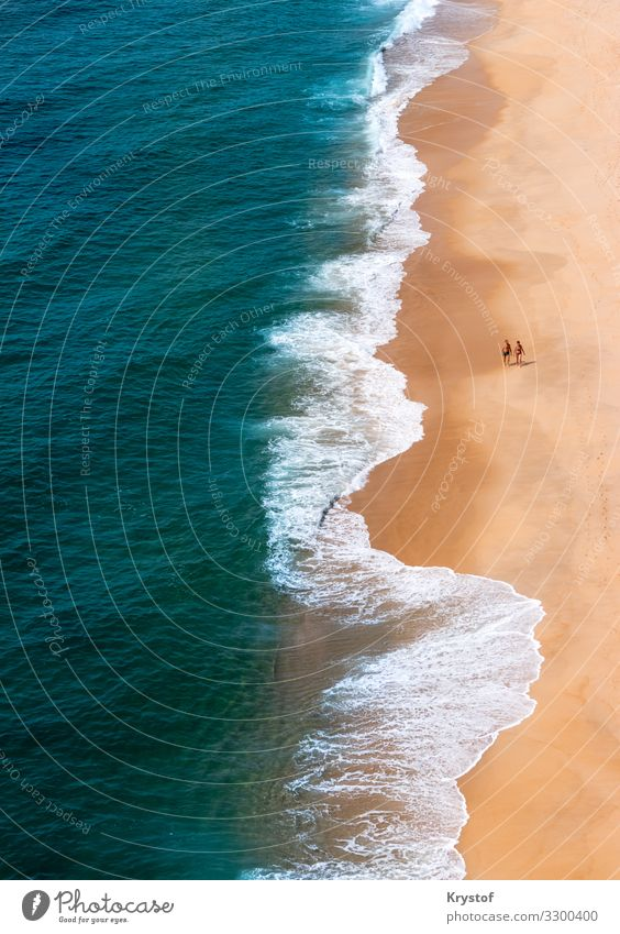 Minimalistic beach Human being Nature Landscape Beach Ocean Fresh Portugal Drone fly Colour photo Bird's-eye view Wide angle