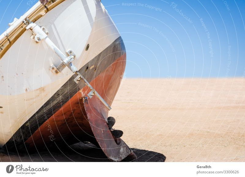 old broken yacht lay on the sand in the desert in Egypt Trip Summer Nature Sand Sky Horizon Transport Yacht Watercraft Wood Old Hot Blue Red Black White