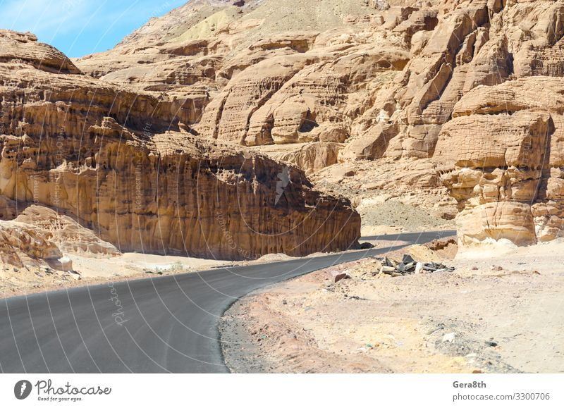 turn in the mountains in Egypt Dahab South Sinai Vacation & Travel Tourism Summer Mountain Nature Landscape Sky Clouds Warmth Rock Street Stone Blue White